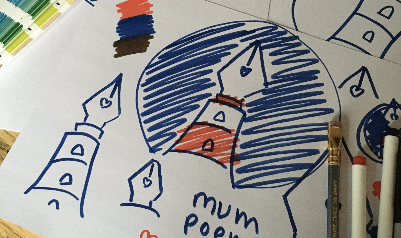 Mum Poem Press sketches